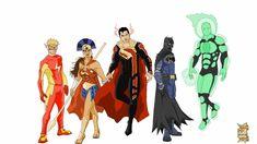 Justice League Redesign by xXdemi-godXx on DeviantArt Arte Dc Comics, Batman Comics, Comic Book Characters, Comic Character, Comic Books, Dick Grayson Batman, Superman, Batman Concept, Justice League Comics