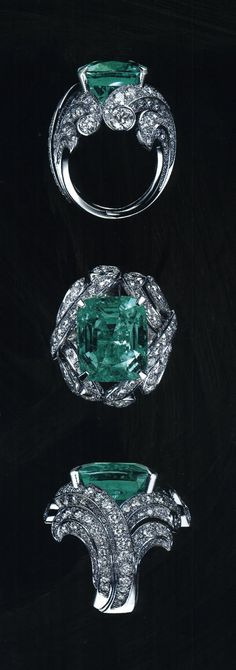 Killer design - I love the way the rows of diamonds look like crashing waves. It's funny, I wouldn't ordinarily even consider it, but as a designer trying to capture my pieces to their best advantage, I'm really not loving this photography!  Cartier - Platinum, Diamond and Emerald Ring.