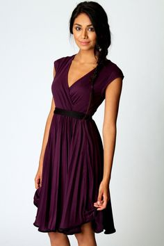 Love the colour, love wrap dresses. Polly Wrap Detail Sleeveless Dress at boohoo.com