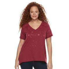 Plus Size Rock & Republic® Burnout Star Boyfriend Tee, Women's, Size: 2XL, Red