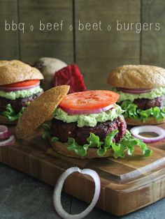 BBQ beef and beet burgers topped with avocado and goat cheese. Bring on the summer grilling!