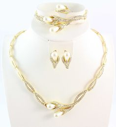 Free shipping fashion classic necklace earrings ring and bracelet set gold Color pearl jewelry sets for women *** Clicking on the image will lead you to find similar product