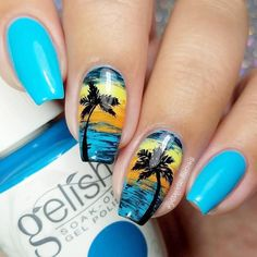 Tropical Nails Designs the best for summertime madness since summer is the time of sun, ocean, and vacation.Here are the best tropical nail designs. Tropical Nail Designs, Beach Nail Designs, Nail Designs Pictures, Sunset Nails, Beach Nails, Hawaii Nails, Trendy Nails, Cute Nails, Summer Nails 2018