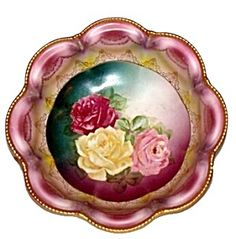 Pink Roses Bowl with Gold Trim, Empire by RS Prussia, Hand Painted