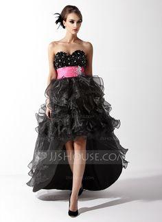 A-Line/Princess Sweetheart Asymmetrical Organza Satin Prom Dress With Sash Beading Cascading Ruffles (018021095)
