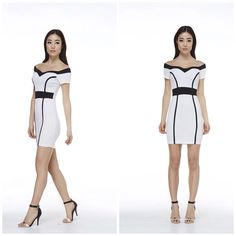 6530e02640 Ashley White and Black Body Con Dress Ashley White