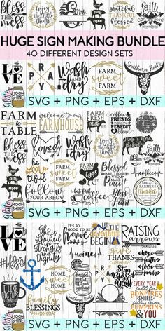 Huge Sign Making Bundle of SVG cut files for Cricut or Silhouette DIY projects! SVG files are perfect for laundry room signs, kitchen signs or wall art home decor! #ad #svg #svgfiles #cricutexplore #cricutmade #silhouette #cameo #vinyl #decals #diyproject #craftideas #laundryroom #kitchenideas #signs #signage