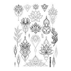 "Set of 2 Waterproof Temporary Fake Tattoo Stickers Vintage Black Grey Geometric Lotus Floral Big. High quality fashionable temporary tattoo, which looks like real. Size: 5.90"" x 8.26"". Quantity: 2 in one set. Easy to apply, lasts for 2--5 days. Produced in GMP standard factory,safe to use."