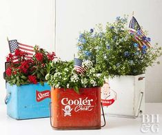 4th of July flower arrangements, cooler, flowers, 4th of July