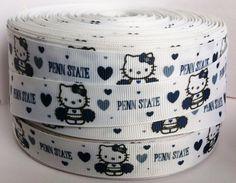 5 Yards Penn State Ribbon 7/8 Printed Grosgrain by RibbonsForLess