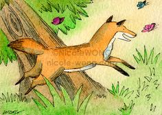 ACEO PRINT - Little Fox Chasing Butterflies - signed art, painting, drawing #illustration