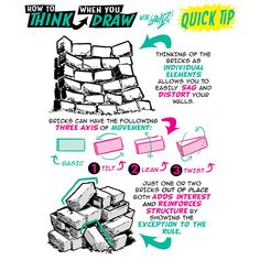 The Etherington Brothers: Photo Drawing Techniques, Drawing Tips, Drawing Reference, Drawing Stuff, Draw Bricks, Brick Wall Drawing, Art Connection, Comic Tutorial, Sketches Tutorial