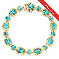 157-274 - Gems en Vogue Choice of Length Paraiba Color Topaz Tennis Bracelet