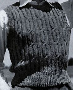 Cable Stitch Sleeveless Pullover knit pattern from Sweaters for Men & Boys, originally published by Jack Frost, Volume No. 40, from 1947.