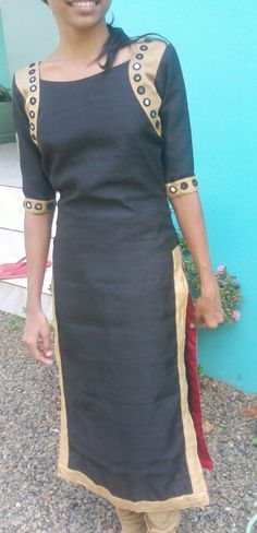Mirror work kurta; black n gold with a pop of red lining