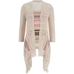 maurices Open Stitch Blanket Cardigan With Fringe ($15) ❤ liked on Polyvore
