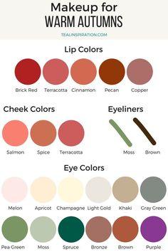 Farbtypen Makeup Colors for Autumns Warm Autumn Makeup Colors Landscape Gardening Tips Lip Gloss Colors, Lipstick Colors, Red Lipsticks, Lip Colors, Lip Sence, Fall Color Palette, Lip Palette, Eyeshadow Palette, Makeup Palette