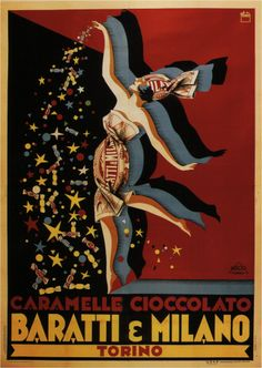 Vintage Italian Posters ~ #Italian #vintage #posters ~ Chocolate Candies Baratti & Milano (Italy). By Pluto, 1928