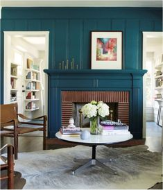 Love the dark teal. Simo Design, California Craftsman, Bungalow, deep blue green painted fireplace surround via Remodelista Red Brick Fireplaces, Wooden Fireplace, Paint Fireplace, Fireplace Design, Fireplace Mantels, Fireplace Drawing, Craftsman Fireplace, Fireplace Outdoor, Wood Mantels