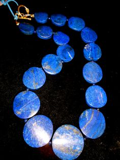 Gem Quality LAPIS LAZULI Round Disk Bead by MOUNTAINPOODLE on Etsy