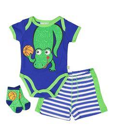 Navy & Green Gator Bodysuit Set - Infant
