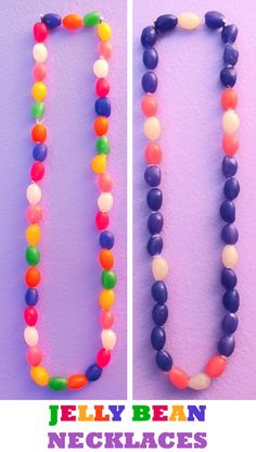 Looking for a fun Easter Craft - how about Jelly Bean Necklaces? So easy to make and so cute to wear! For more great Easter Craft Ideas, follow us at https://www.pinterest.com/2SistersCraft/
