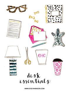 The Decorating Sketchbook   Desk Essentials   #behindthepalette www.evelynhenson.com