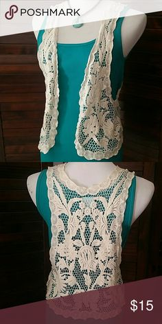 """Cute Boho Lace Vest On trend little lace vest. 100% Cotton, 24"""" long H.I.P. Jackets & Coats Vests"""