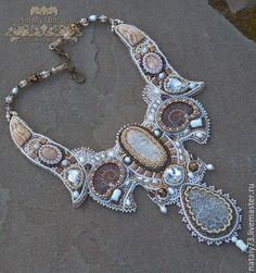 Bronze, Beaded Jewelry, Beaded Necklaces, Ammonite, Tiaras And Crowns, Metal Clay, Beaded Embroidery, Swarovski Crystals, Jewelry Making