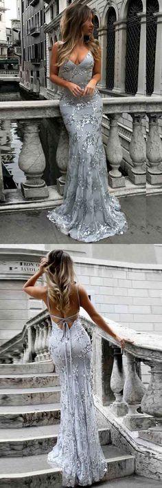 Mermaid Deep V-Neck Sweep Train Grey Tulle Dress PG495 #dress #fashion #mermaid #party #evening