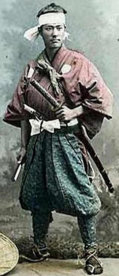Vintage hand colored photograph of Samurai. Samurai was abolished in the 1870s by order of the emperor. JAPAN