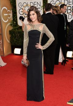 Lizzy Caplan in an art deco style Pucci dress at the Golden Globes 2014 - love it!