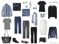 Capsule wardrobe inspired by art in blue and grey - Arlequin by Pablo Picasso, Version 2