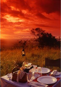 Sunset outdoor picnic