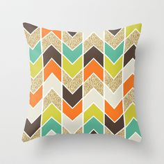 Distorted Chevron in Naturescape Throw Pillow