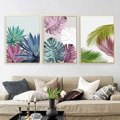 Abstract Plant Color Leaf Wall Art Canvas Painting Cuadros Posters Nordic Poster Picture Wall Pictures For Living Room Unframed Simple Canvas Paintings, Canvas Art Prints, Canvas Wall Art, Art Paintings, Portrait Paintings, Diy Canvas, Acrylic Paintings, Leaf Wall Art, Diy Wall Art