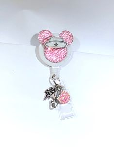 Minnie mouse bling work Retractable Reel ID Badge Holder nurse cna  secretary rn