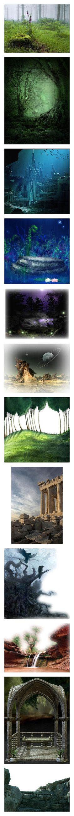 """""""Backgrounds #2"""" by dragon-spirit ❤ liked on Polyvore featuring backgrounds, forest, landscape, underwater, nature, tubes, frames, fantasy, flowers and halloween"""
