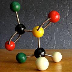 Vintage Atomic Molecular Models Wooden Balls Metal by RubeesNest, $20.00
