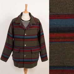 WOOLRICH MADE IN THE USA VINTAGE WOOL MENS COAT JACKET STRIPED RANCH HIPSTER XL £43.00