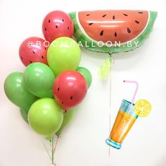 Pink and green balloons. Balloon Garland, Balloons, Birthday Balloon Decorations, Pink And Green, Easter Eggs, Watermelon, Party Ideas, Party, Giant Balloons