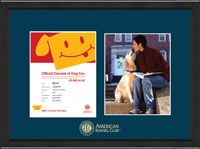 """American Kennel Club (@American Kennel Club) Certificate & Photo Frame - Features two openings with the official American Kennel Club name and seal gold embossed on navy museum-quality matting. It is framed in our Arena moulding crafted of 100% recycled wood and has a black satin finish.  This frame fits a 8.5""""x11"""" Canine Partners certificate and 8""""x10"""" photo. Certificate and photo not included with frame orders."""
