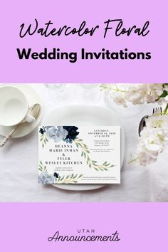 This wedding invitation has a watercolor floral design for that classic wedding vibe. Create a custom design with us today! One Design, Custom Design, Spring Weddings, Simple Wedding Invitations, Bride Look, Wedding Announcements, Flourish, Floral Watercolor, Swirls