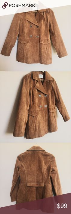 """Zara Suede Leather Jacket Size: M Authentic Zara Suede 100% Pig Leather Jacket  Fall collection 2015- Authentic Zara Medium  Tobacco Color Outer shell: 100% Pig Leather Body Lining: 80% Polyester, 20% Cotton Sleeve Lining: 100% Polyester  Measurements (approximate): All taken laying flat buttoned up Length:26.5"""" inches Underarm to underarm (laying flat):18"""" inches Waist (laying flat): 33"""" inches  Excellent pre-owned condition. Stored in a smoke-free, pet-free home. Zara Jackets & Coats"""
