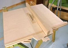 Table Saw Rip Fence by Matthias Wandel -- Homemade table saw rip fence constructed from plywood and lumber. An integrated locking knob secures the fence to the rail. http://www.homemadetools.net/homemade-table-saw-rip-fence-3
