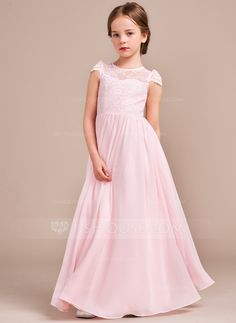 A-Line/Princess Scoop Neck Floor-length Chiffon Lace Sleeveless Flower Girl Dress Flower Girl Dress