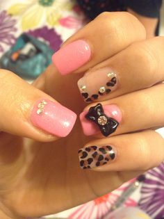 Cute pink nails with a bow, leopard print & cute rhinestones!
