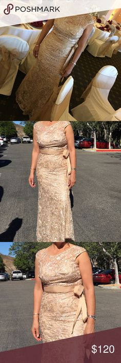 Gold Sequin Bridesmaid/Prom dress Elegant gold sequin dress with silk ribbon for waistline. Hugs curves and gives elegant figure. Worn only for the event pictured. Dresses Wedding