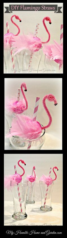 DIY Flamingo Straws on MyHumbleHomeandGarden.com