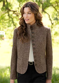 Just found this Womens Tweed Blazer - Donegal Tweed Stand-Collar Jacket -- Orvis UK on Orvis.com!